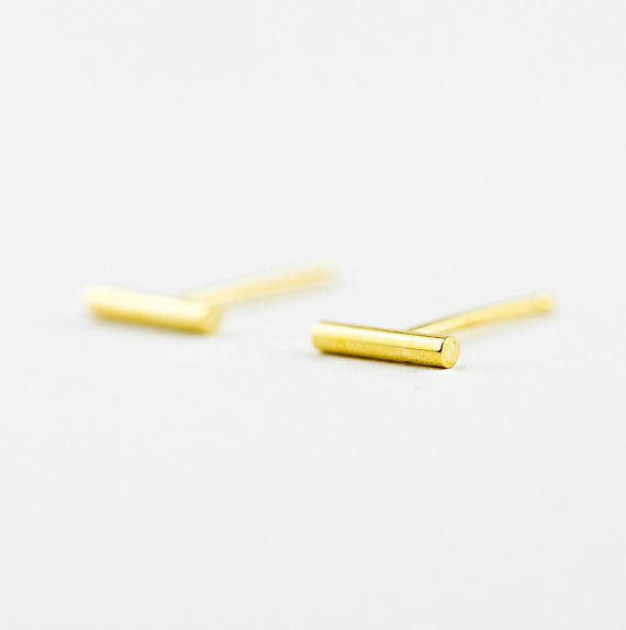 Gold Silver plated tiny bar stud earring unique Simple Stick Column bar earrings Cylinder stud jewelry 8mm10mm12mm