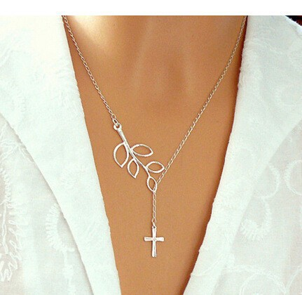 leaf looped with cross necklace cross and branch
