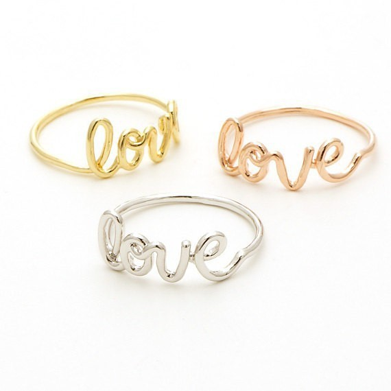 R020 Gold Silver Forever Endless Real Love Rings for Couples Cute Romantic Alphabet Love Letters Rings Jewelry for Women
