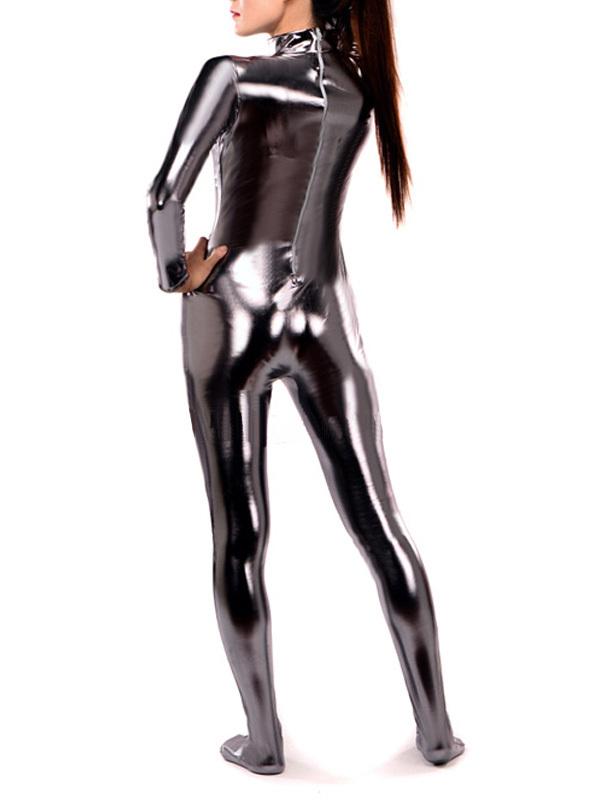 Dark Silver Shiny Metallic Catsuit