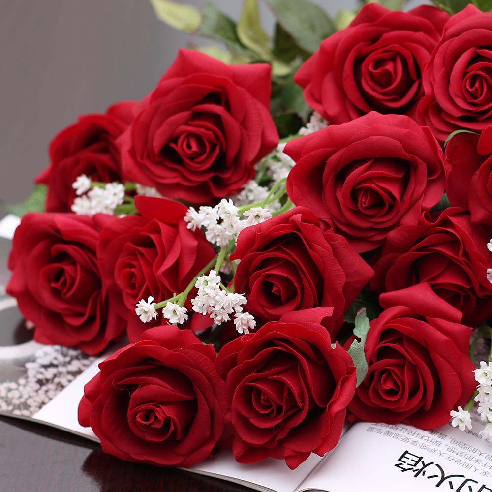 Acheter Real Touch Rose Pu Bouquet De Soie Artificielle De Mariage Fleurs Décorations Pour La Fête De Mariage Ou D Anniversaire De 1 06 Du