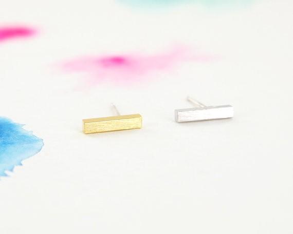 Square Bar Stud Small Stick Earring Simple Slim Bar Earrings
