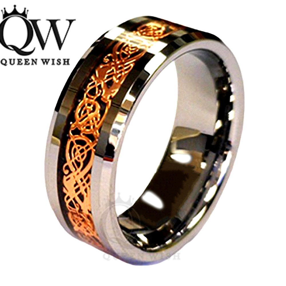 Mens Engagement Rings Infinity Wedding Rings Jewelry 18K Rose Gold Plated  Celtic Dragon 8mm Tungsten Carbide Wedding Band Ring Menu0027s Jewelry 2018  From ...
