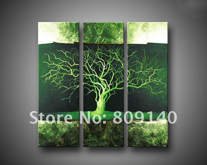 Oil Painting Canvas Green Life Tree Huge Modern Decoration High Quality  Handmade Home Office Wall Art Decor Gift New Free Ship