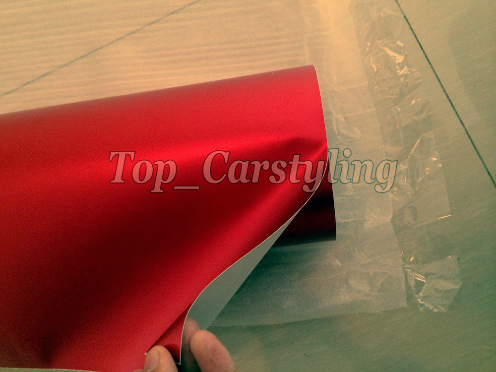 satin red Matte chrome vinyl metallic Matt alumium red car wrap sheets (1)