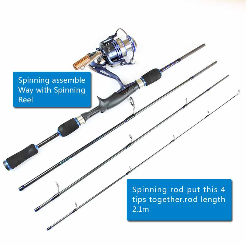 Casting Spinning Carbon Firber Fishing Rods 2.1m 1.8m 8 sections fishing rod travel pole one rod Two Use way fishing tackle (10)