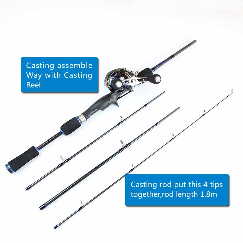 Casting Spinning Carbon Firber Fishing Rods 2.1m 1.8m 8 sections fishing rod travel pole one rod Two Use way fishing tackle (9)