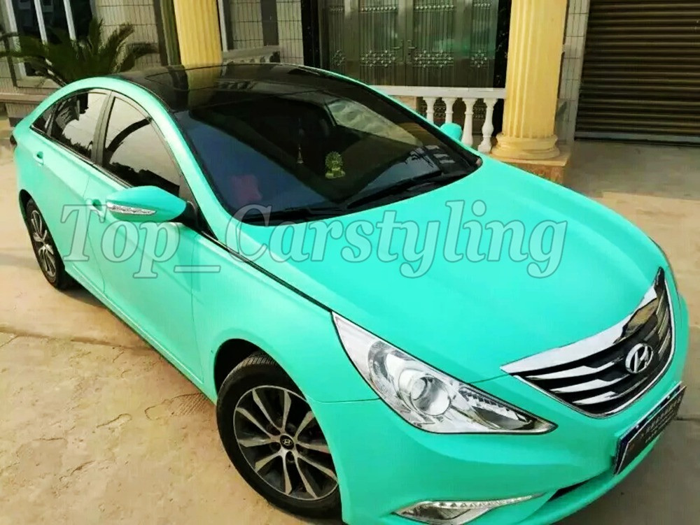 Matte tiffany blue mint green vinyl car wrapping film 3m satin white car wrap Film Foile (6)