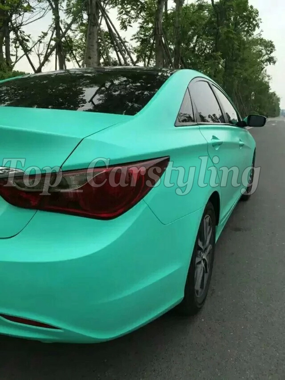 Matte tiffany blue mint green vinyl car wrapping film 3m satin white car wrap Film Foile (7)