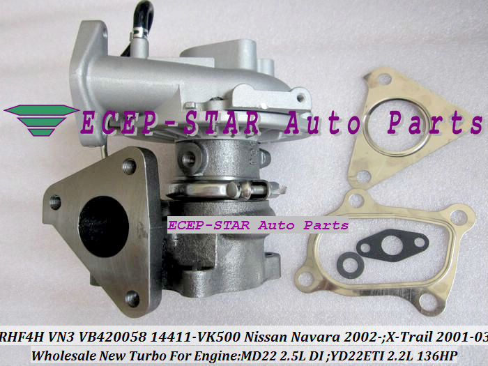 RHF4H VN3 VB420058 14411-VK500 TURBO Turbocharger For NISSAN Navara 2.5DI X-Trail MD22 2.5L YD22ETI 2.2L 136HP