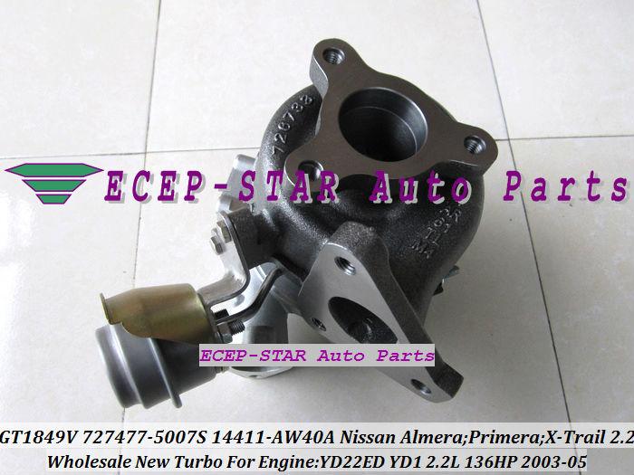 GT1849V 727477-5007S 727477 14411-AW40A Nissan Almera;Primera;X-Trail T30 2003-05 YD22ED YD1 2.2L 136HP Turbocharger