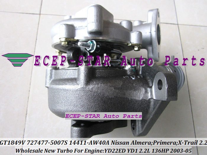 GT1849V 727477-5007S 727477 14411-AW40A Nissan Almera;Primera;X-Trail T30 2003-05 YD22ED YD1 2.2L 136HP Turbocharger (3)