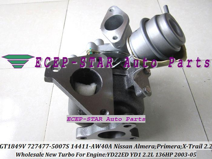 GT1849V 727477-5007S 727477 14411-AW40A Nissan Almera;Primera;X-Trail T30 2003-05 YD22ED YD1 2.2L 136HP Turbocharger (2)