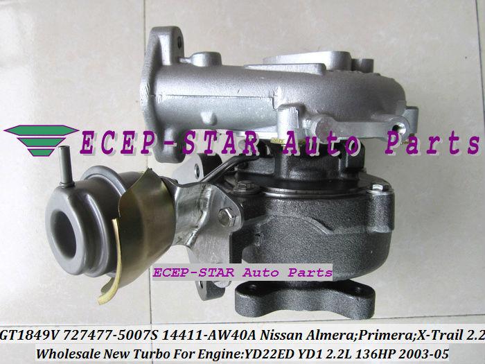 GT1849V 727477-5007S 727477 14411-AW40A Nissan Almera;Primera;X-Trail T30 2003-05 YD22ED YD1 2.2L 136HP Turbocharger (5)