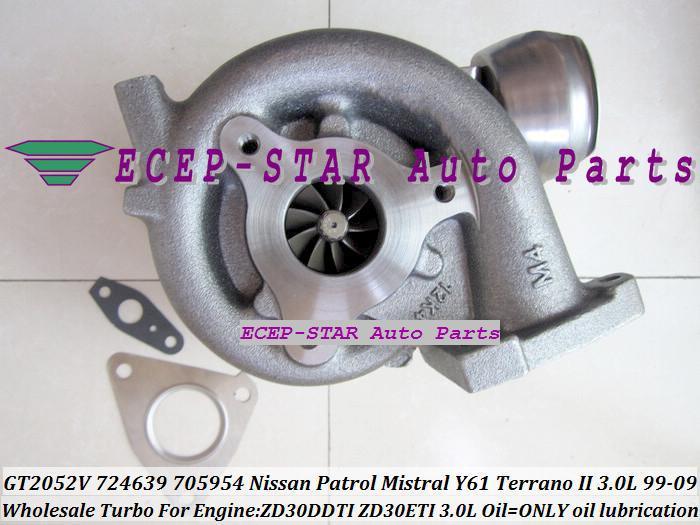 GT2052V 705954-0015 724639-5006S 724639 Wind Cooled Turbocharger For NISSAN Patrol Mistral Y61 Terrano II ZD30DTI ZD30ETI 3.0L