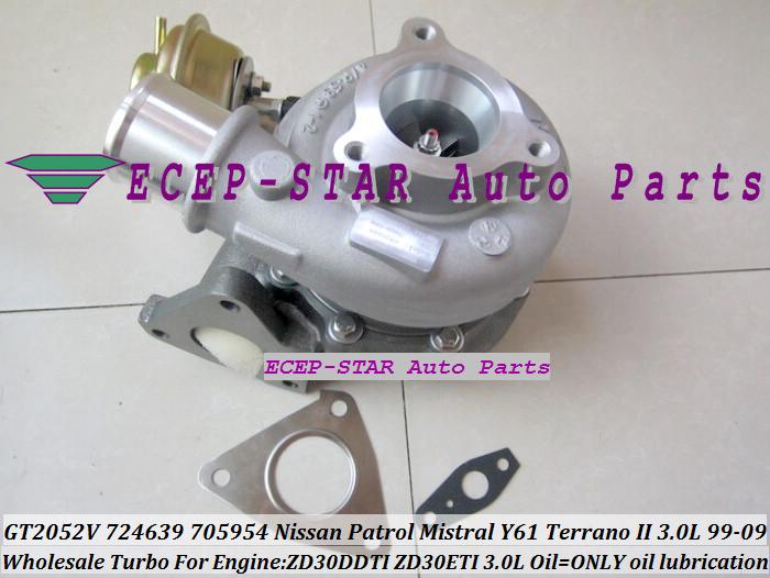 GT2052V 705954-0015 724639-5006S 724639 Wind Cooled Turbocharger For NISSAN Patrol Mistral Y61 Terrano II ZD30DTI ZD30ETI 3.0L (5)