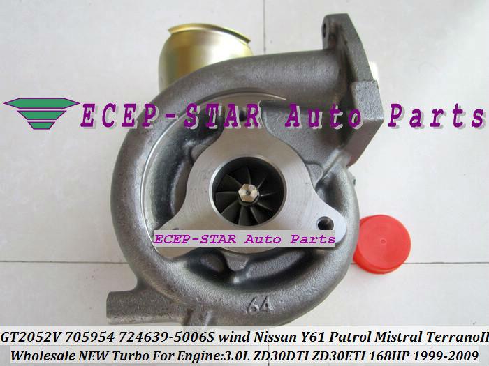 GT2052V 705954-0015 724639-5006S Wind Cooled For NISSAN Y61 Patrol Mistral Terrano II 1999 3.0L ZD30DDTI ZD30ETI 168HP turbocharger