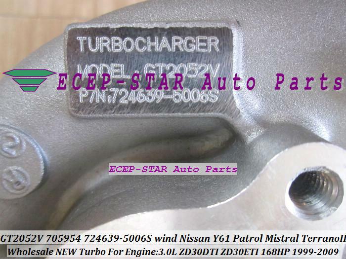 GT2052V 705954-0015 724639-5006S Wind Cooled For NISSAN Y61 Patrol Mistral Terrano II 1999 3.0L ZD30DDTI ZD30ETI 168HP turbocharger (2)