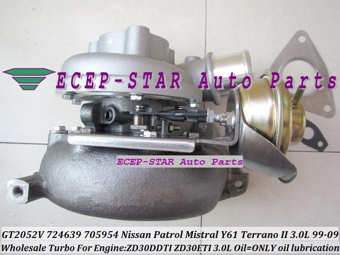 GT2052V 705954-0015 724639-5006S 724639 Wind Cooled Turbocharger For NISSAN Patrol Mistral Y61 Terrano II ZD30DTI ZD30ETI 3.0L (3)