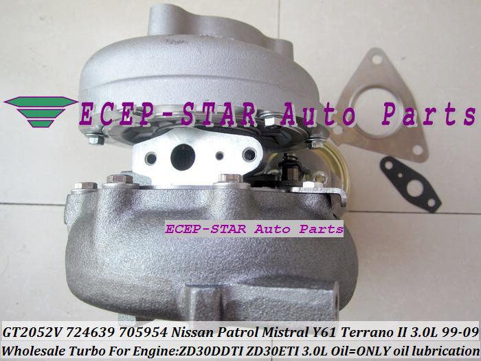 GT2052V 705954-0015 724639-5006S 724639 Wind Cooled Turbocharger For NISSAN Patrol Mistral Y61 Terrano II ZD30DTI ZD30ETI 3.0L (6)