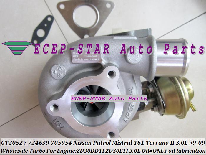 GT2052V 705954-0015 724639-5006S 724639 Wind Cooled Turbocharger For NISSAN Patrol Mistral Y61 Terrano II ZD30DTI ZD30ETI 3.0L (11)