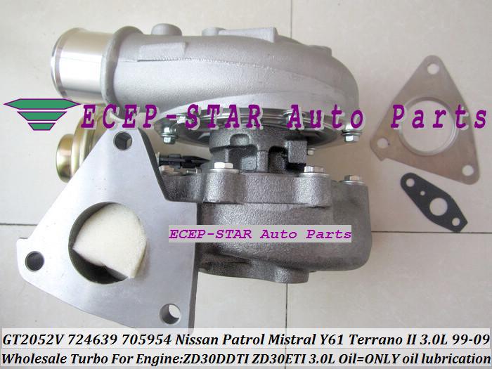 GT2052V 705954-0015 724639-5006S 724639 Wind Cooled Turbocharger For NISSAN Patrol Mistral Y61 Terrano II ZD30DTI ZD30ETI 3.0L (4)