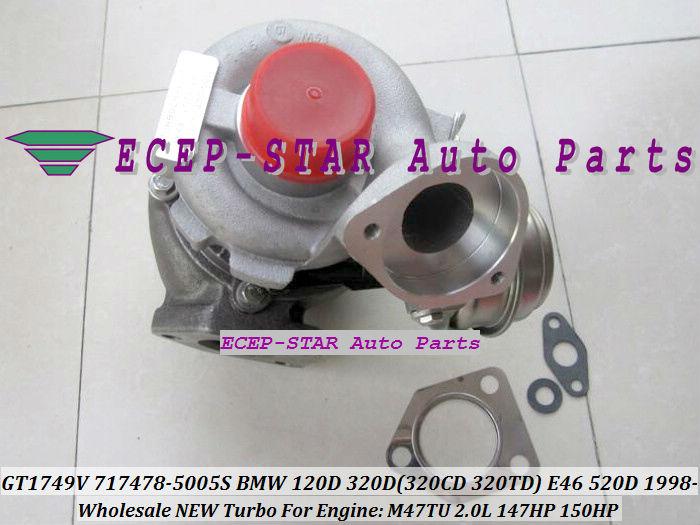 GT1749V 717478-5005S 717478 Turbo Turbocharger For BMW 120D 320D 320CD 320TD E46 520D Diesel M47TU 2.0L 1998-05 150HP (1)