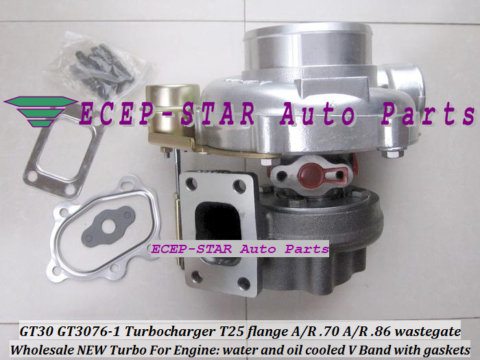GT30 GT3076-1 Turbo Turbocharger T25 flange AR .70 AR .86 wastegate water and oil cooled V Band with gasket (3)