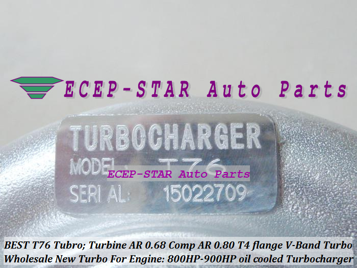 Turbocharger Turbo only oil cooled T76 Turbine AR 0.68 Comp AR 0.80 800HP-900HP T4 Turbo charger T4 flange V-Band (1)