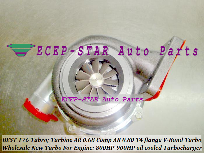 Turbocharger Turbo only oil cooled T76 Turbine AR 0.68 Comp AR 0.80 800HP-900HP T4 Turbo charger T4 flange V-Band (5)