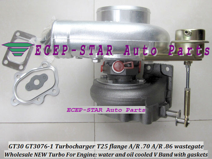 GT30 GT3076-1 Turbo Turbocharger T25 flange AR .70 AR .86 wastegate water and oil cooled V Band with gasket (1)
