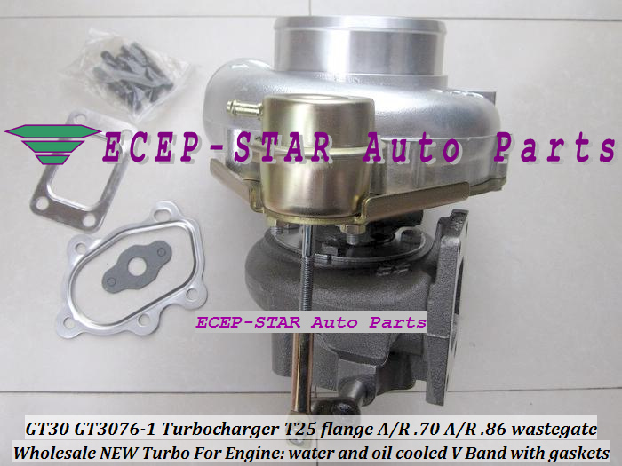 GT30 GT3076-1 Turbo Turbocharger T25 flange AR .70 AR .86 wastegate water and oil cooled V Band with gasket (4)