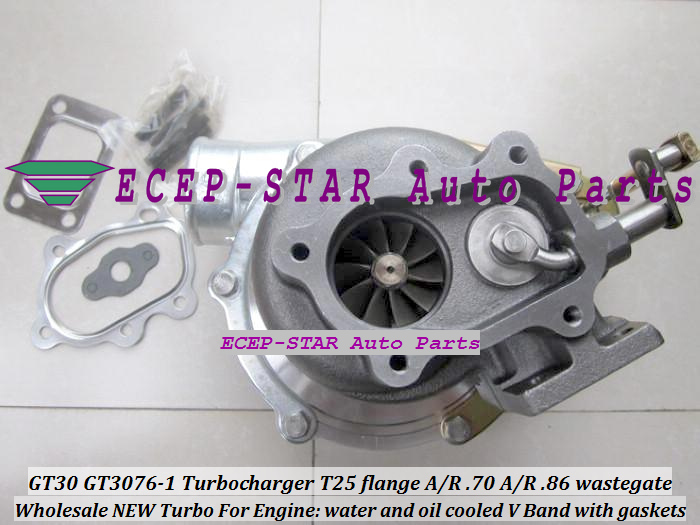 GT30 GT3076-1 Turbo Turbocharger T25 flange AR .70 AR .86 wastegate water and oil cooled V Band with gasket