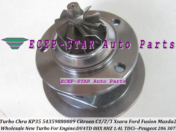 Turbo CHRA Cartridge Core KP35 54359880009 Citroen C1 C2 C3 Xsara Ford Fusion Mazda 2 PEUGEOT 206 307 1.4L TDCi DV4TD 8HX 8HZ (6)
