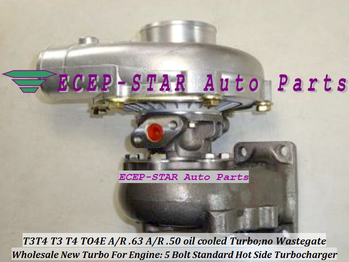 Wholesale T3T4 T3 T4 TO4E 5 Bolt Standard Hot Side; AR63 AR 50 oil cooled Turbo Turbocharger with Gaskets