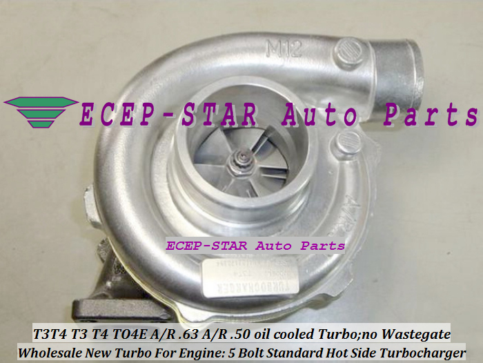 Wholesale T3T4 T3 T4 TO4E 5 Bolt Standard Hot Side; AR63 AR 50 oil cooled Turbo Turbocharger with Gaskets (2)