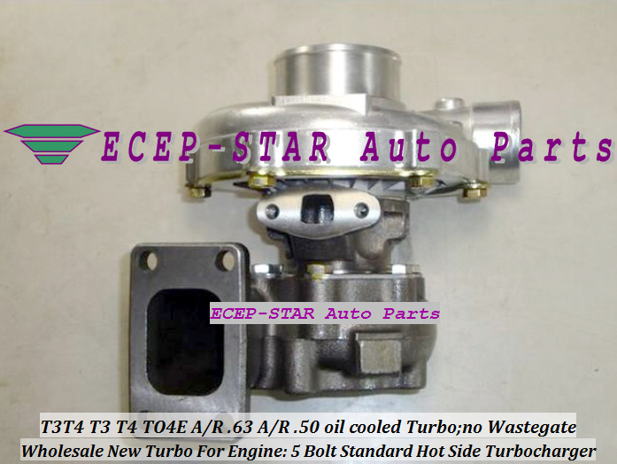Wholesale T3T4 T3 T4 TO4E 5 Bolt Standard Hot Side; AR63 AR 50 oil cooled Turbo Turbocharger with Gaskets (3)