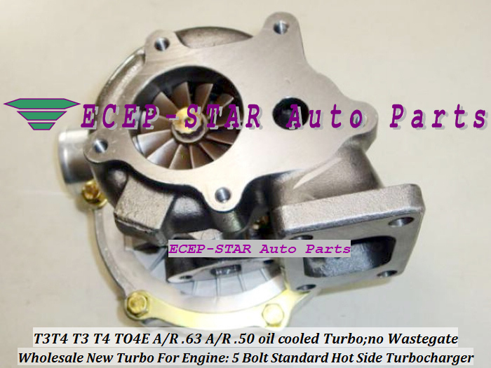 Wholesale T3T4 T3 T4 TO4E 5 Bolt Standard Hot Side; AR63 AR 50 oil cooled Turbo Turbocharger with Gaskets (1)