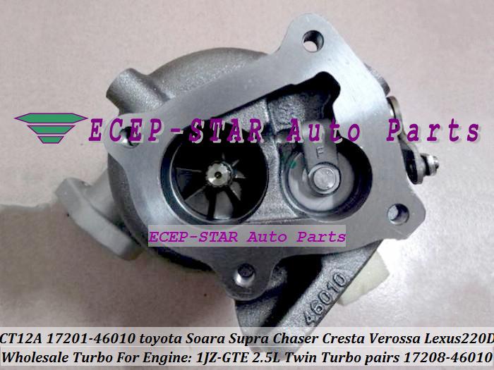 Turbo Turbocharger CT12A 17201-46010 17208-46010 For TOYOTA SOARA Soarer Supra Chaser Cresta Verossa Lexus 220D 1JZ-GTE 2.5L (1)