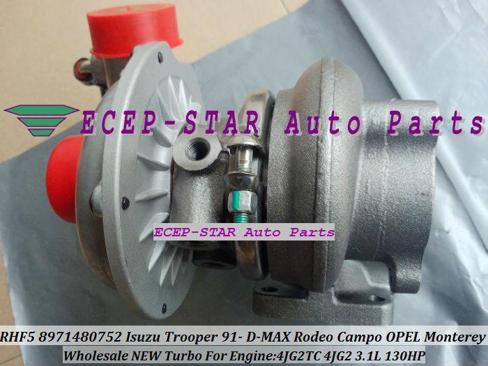 RHF5 8971480752 Turbo Turbocharger ISUZU Trooper 1991- D-MAX Rodeo Campo OPEL Monterey 4JG2TC 4JG2 3.1L (3)