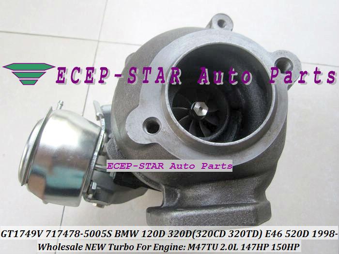 GT1749V 717478-5005S 717478 Turbo Turbocharger For BMW 120D 320D 320CD 320TD E46 520D Diesel M47TU 2.0L 1998-05 150HP (2)
