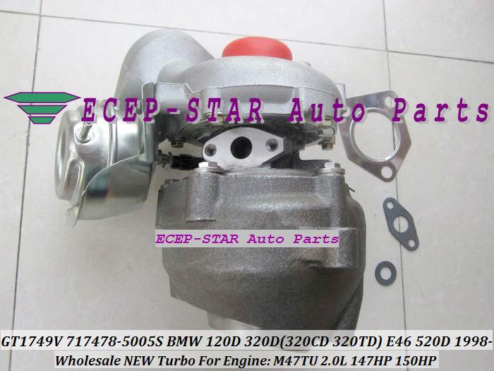 GT1749V 717478-5005S 717478 Turbo Turbocharger For BMW 120D 320D 320CD 320TD E46 520D Diesel M47TU 2.0L 1998-05 150HP (3)