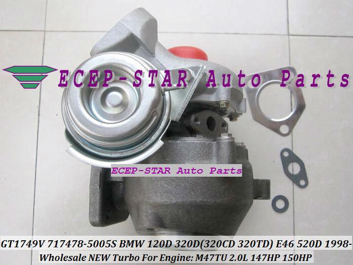 GT1749V 717478-5005S 717478 Turbo Turbocharger For BMW 120D 320D 320CD 320TD E46 520D Diesel M47TU 2.0L 1998-05 150HP (4)