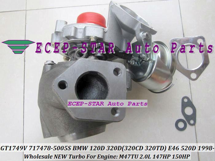 GT1749V 717478-5005S 717478 Turbo Turbocharger For BMW 120D 320D 320CD 320TD E46 520D Diesel M47TU 2.0L 1998-05 150HP (5)