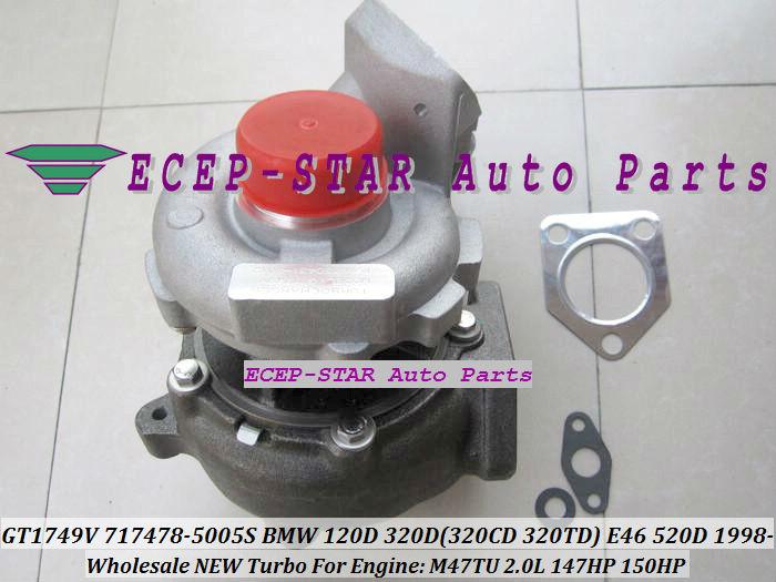 GT1749V 717478-5005S 717478 Turbo Turbocharger For BMW 120D 320D 320CD 320TD E46 520D Diesel M47TU 2.0L 1998-05 150HP
