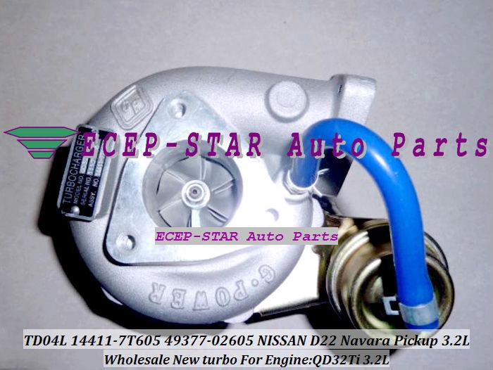 turbocharger TD04L 14411-7T605 49377-02605 NISSAN D22 Navara Pickup 3.2L QD32Ti 3.2L (2)