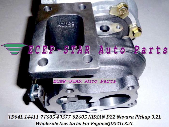 turbocharger TD04L 14411-7T605 49377-02605 NISSAN D22 Navara Pickup 3.2L QD32Ti 3.2L