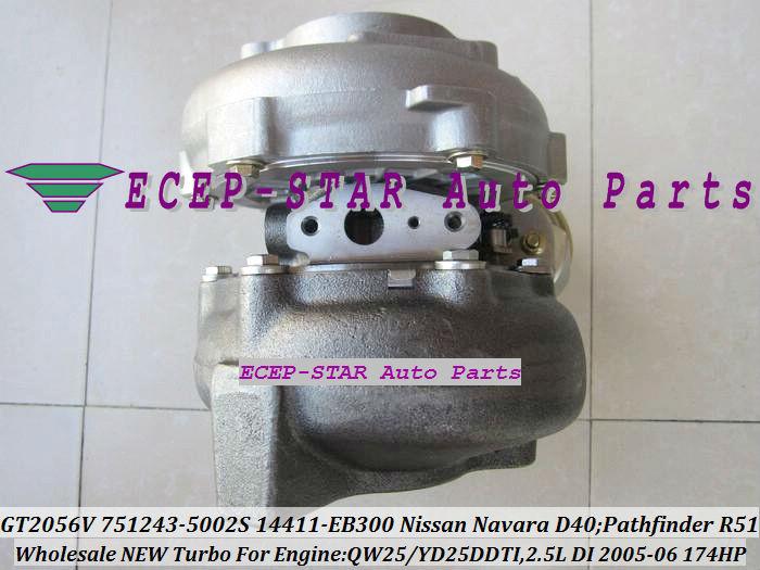 GT2056V 751243-5002S 751243 Turbocharger NISSAN Navara D40 Pathfinder R51 QW25 YD25DDTI 2.5L 174HP 2005-06 14411-EB300 (2)