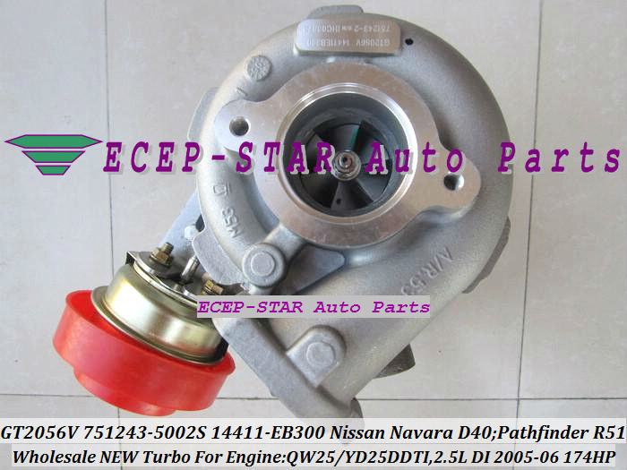 GT2056V 751243-5002S 751243 Turbocharger NISSAN Navara D40 Pathfinder R51 QW25 YD25DDTI 2.5L 174HP 2005-06 14411-EB300 (5)