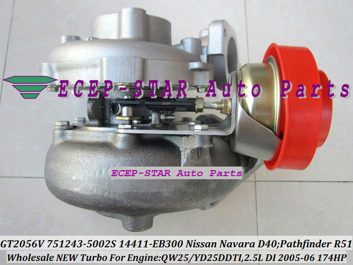 GT2056V 751243-5002S 751243 Turbocharger NISSAN Navara D40 Pathfinder R51 QW25 YD25DDTI 2.5L 174HP 2005-06 14411-EB300 (3)